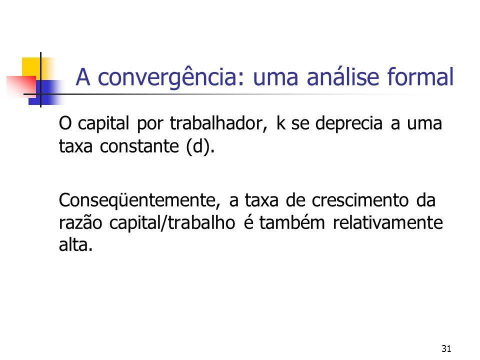 31 A convergência: uma análise formal O capital por trabalhador, k se deprecia a uma taxa constante (d). Conseqüentemente, a taxa de crescimento da ra