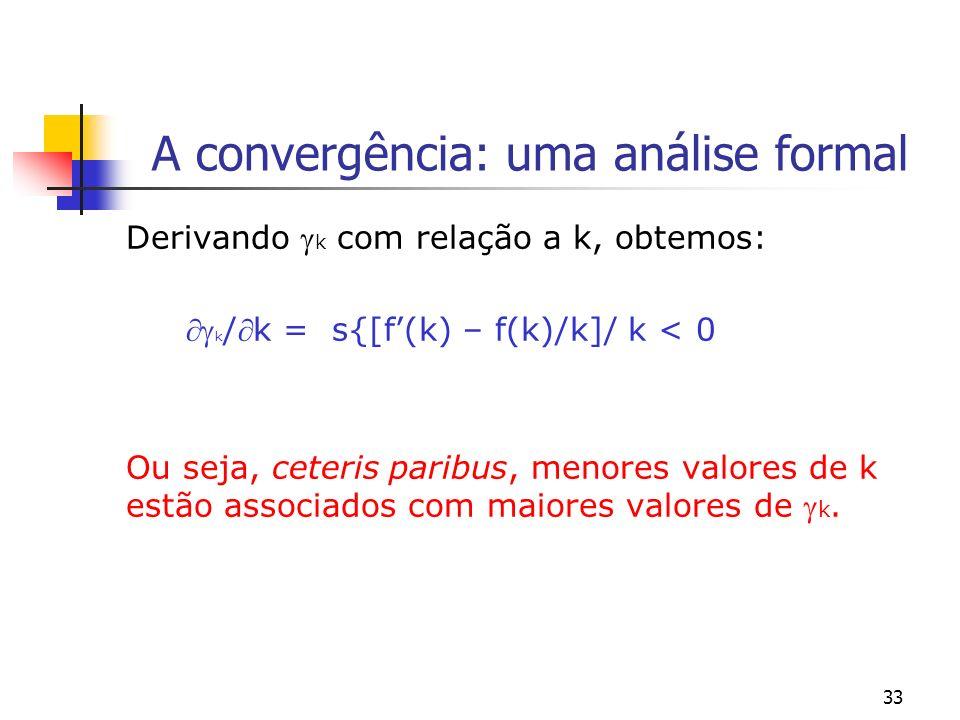 33 A convergência: uma análise formal Derivando k com relação a k, obtemos: k /k = s{[f(k) – f(k)/k]/ k < 0 Ou seja, ceteris paribus, menores valores