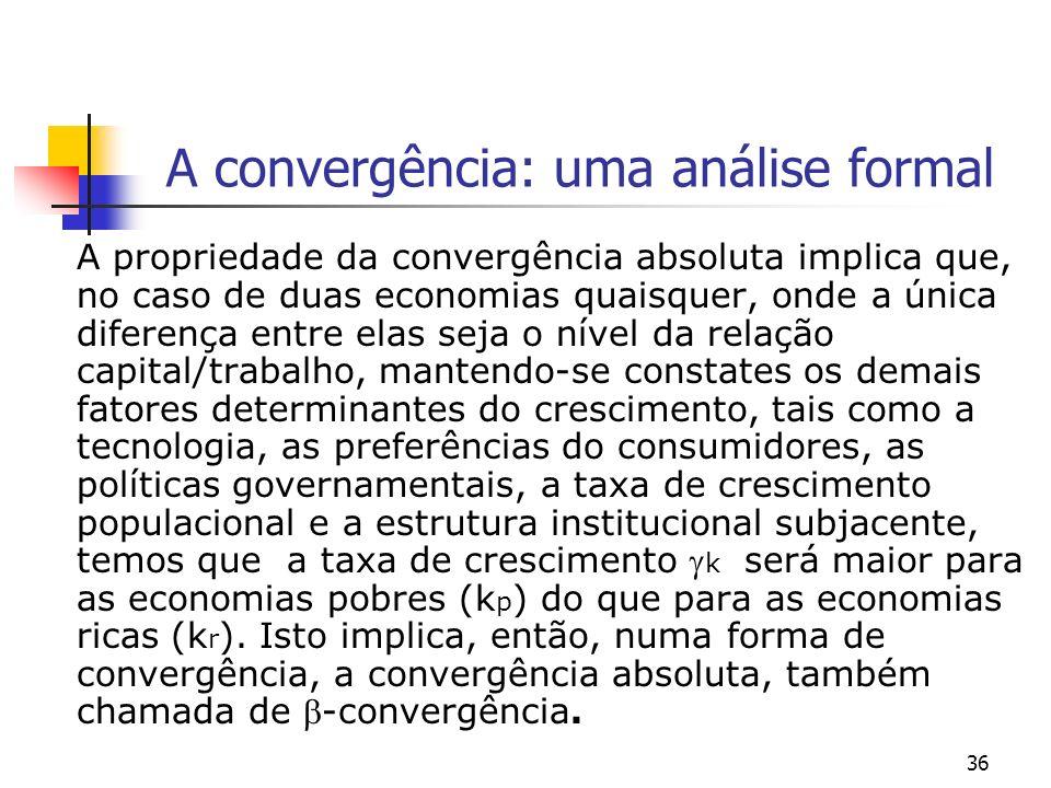 36 A convergência: uma análise formal A propriedade da convergência absoluta implica que, no caso de duas economias quaisquer, onde a única diferença