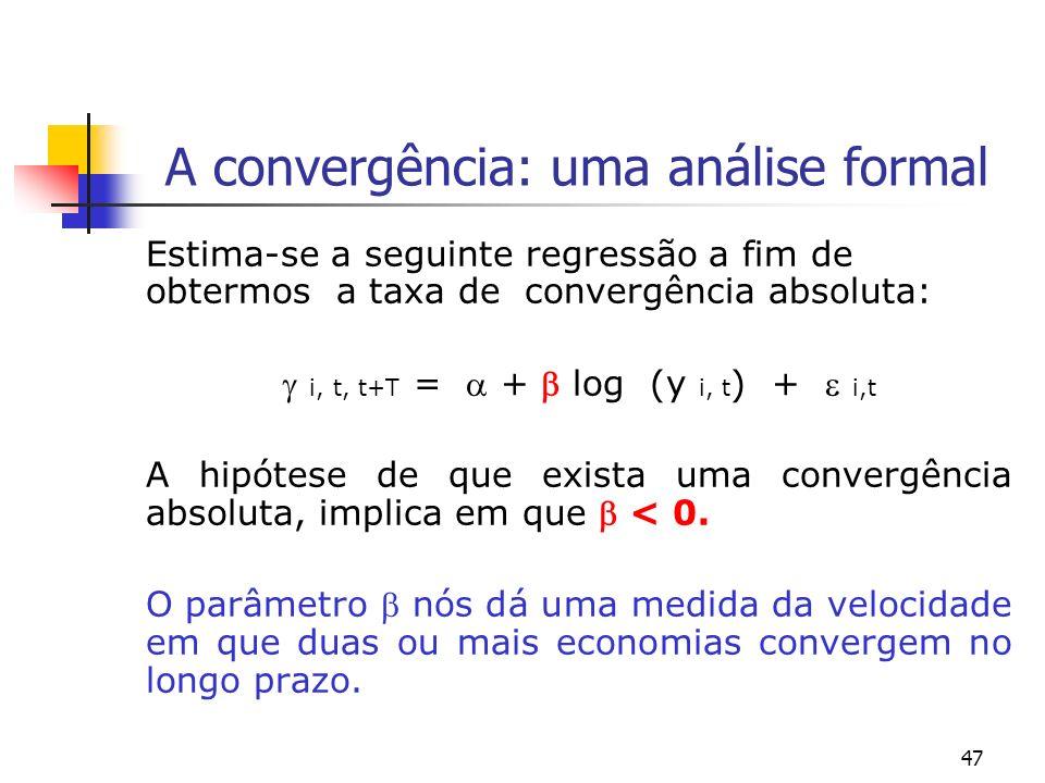 47 A convergência: uma análise formal Estima-se a seguinte regressão a fim de obtermos a taxa de convergência absoluta: i, t, t+T = + log (y i, t ) +