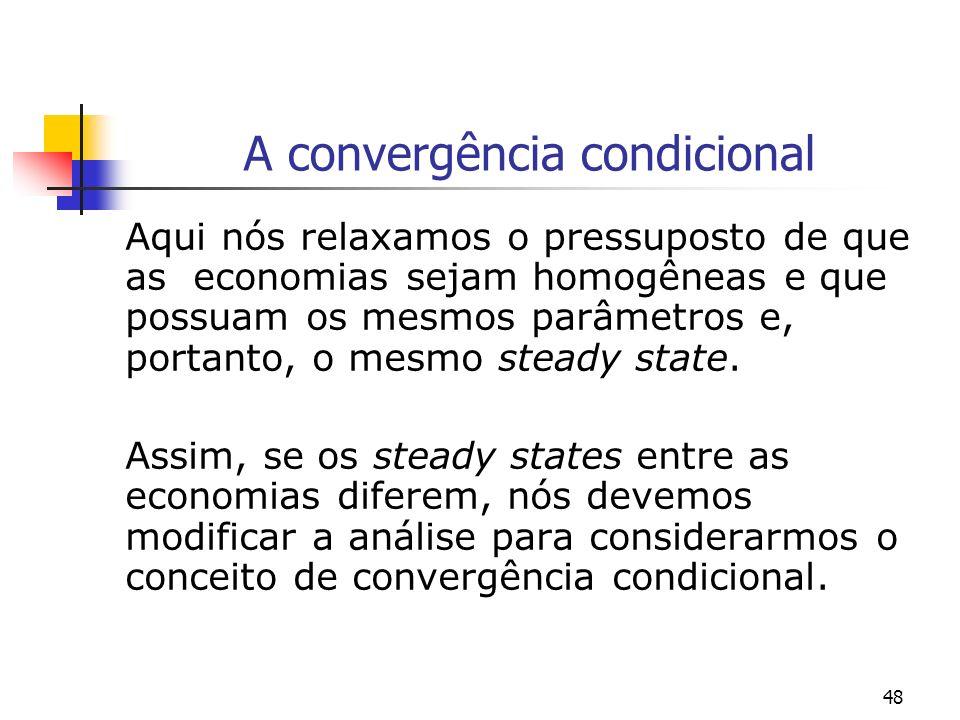 48 A convergência condicional Aqui nós relaxamos o pressuposto de que as economias sejam homogêneas e que possuam os mesmos parâmetros e, portanto, o