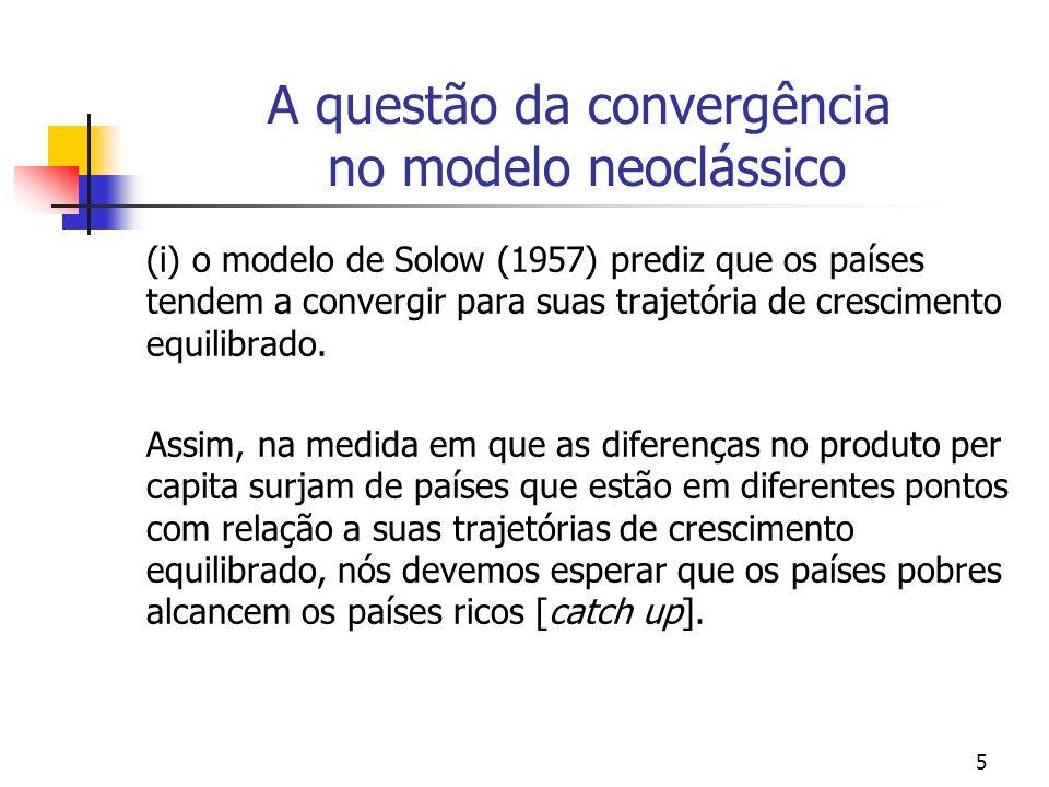 5 A questão da convergência no modelo neoclássico (i) o modelo de Solow (1957) prediz que os países tendem a convergir para suas trajetória de crescim