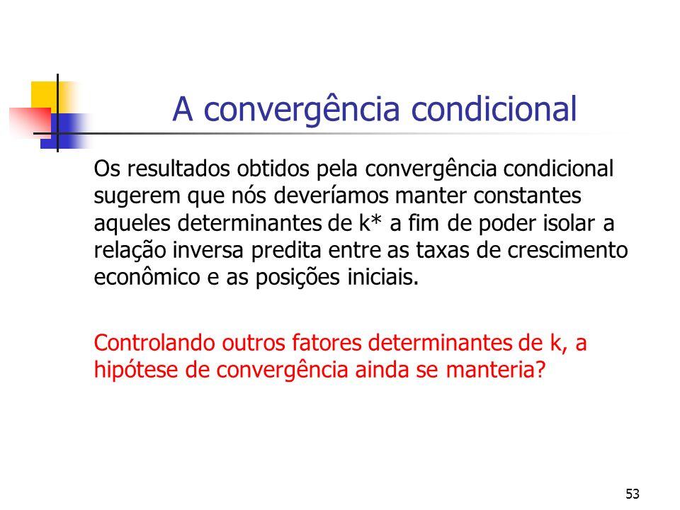 53 A convergência condicional Os resultados obtidos pela convergência condicional sugerem que nós deveríamos manter constantes aqueles determinantes d