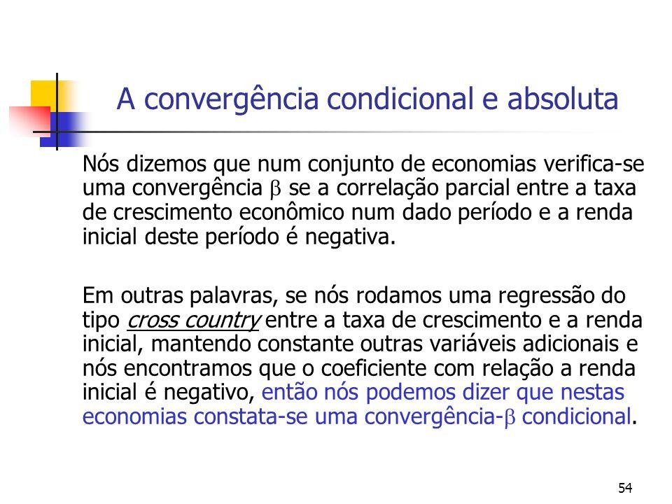 54 A convergência condicional e absoluta Nós dizemos que num conjunto de economias verifica-se uma convergência se a correlação parcial entre a taxa d