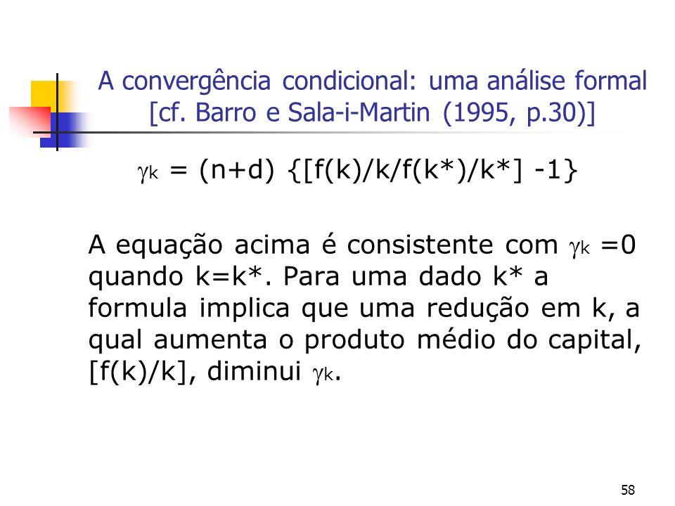 58 A convergência condicional: uma análise formal [cf. Barro e Sala-i-Martin (1995, p.30)] k = (n+d) {[f(k)/k/f(k*)/k*] -1} A equação acima é consiste