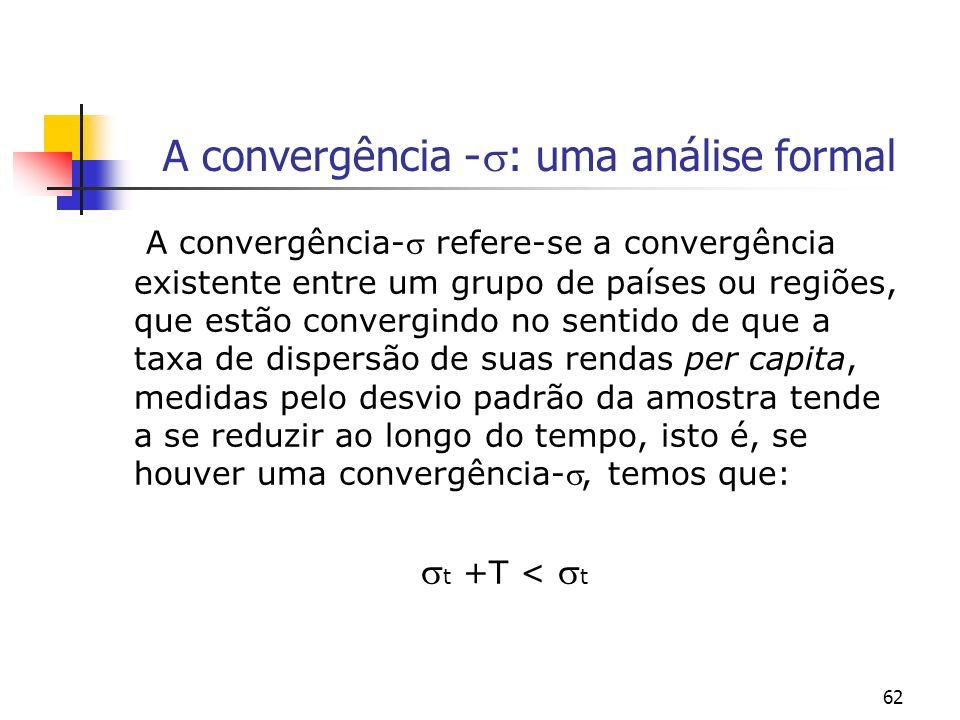 62 A convergência - : uma análise formal A convergência- refere-se a convergência existente entre um grupo de países ou regiões, que estão convergindo