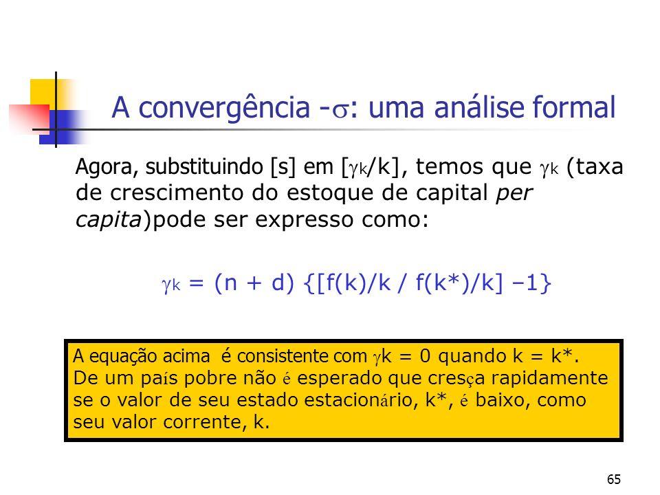 65 A convergência - : uma análise formal Agora, substituindo [s] em [ k /k], temos que k (taxa de crescimento do estoque de capital per capita)pode se
