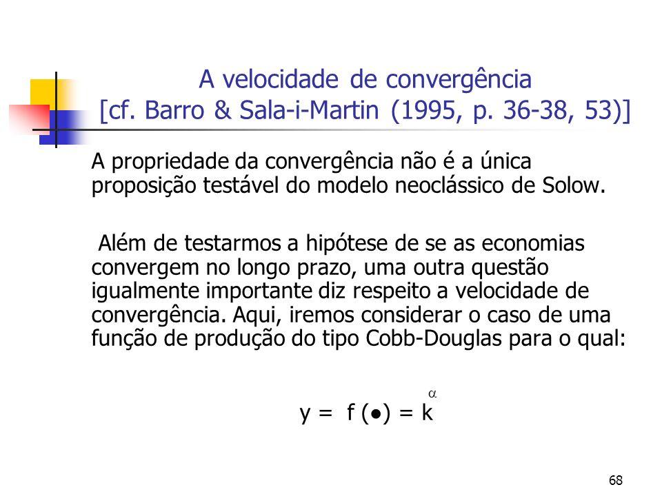 68 A velocidade de convergência [cf. Barro & Sala-i-Martin (1995, p. 36-38, 53)] A propriedade da convergência não é a única proposição testável do mo