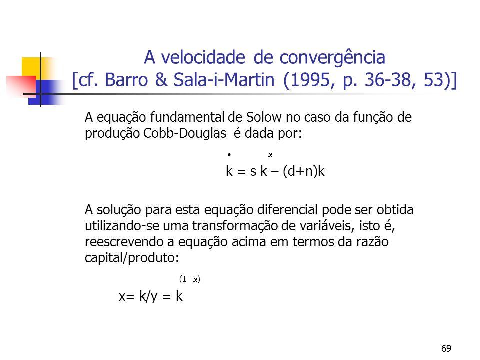 69 A velocidade de convergência [cf. Barro & Sala-i-Martin (1995, p. 36-38, 53)] A equação fundamental de Solow no caso da função de produção Cobb-Dou