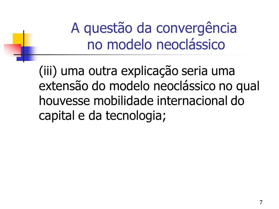 7 A questão da convergência no modelo neoclássico (iii) uma outra explicação seria uma extensão do modelo neoclássico no qual houvesse mobilidade inte