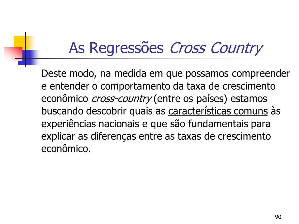 90 As Regressões Cross Country Deste modo, na medida em que possamos compreender e entender o comportamento da taxa de crescimento econômico cross-cou