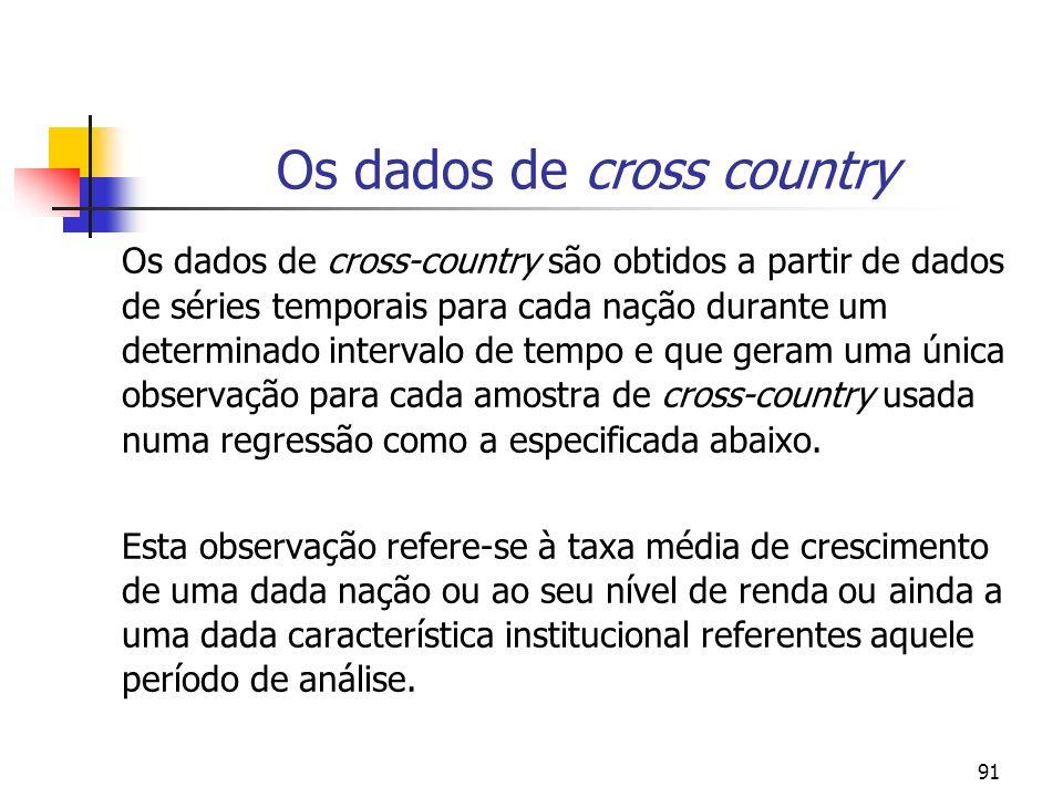 91 Os dados de cross country Os dados de cross-country são obtidos a partir de dados de séries temporais para cada nação durante um determinado interv