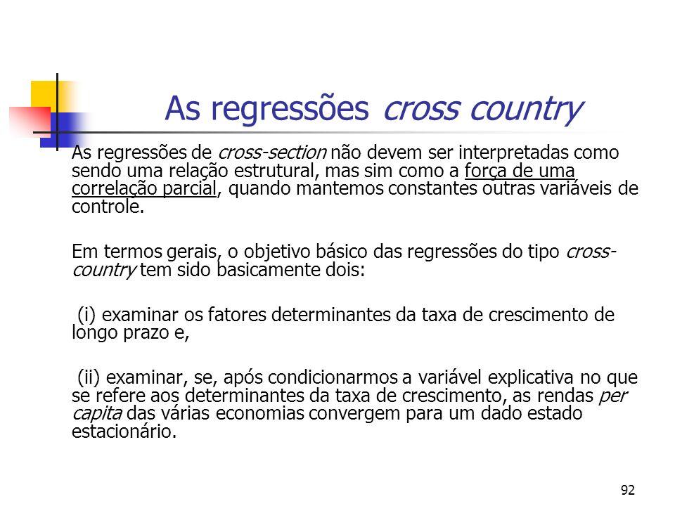 92 As regressões cross country As regressões de cross-section não devem ser interpretadas como sendo uma relação estrutural, mas sim como a força de u