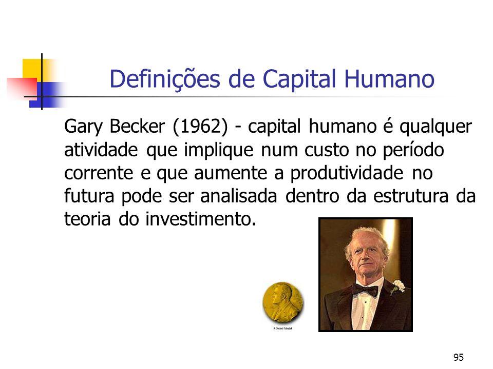 95 Definições de Capital Humano Gary Becker (1962) - capital humano é qualquer atividade que implique num custo no período corrente e que aumente a pr
