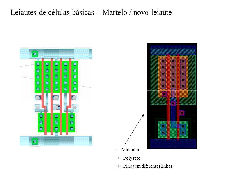 Leiautes de células básicas – Martelo / novo leiaute ---- Mais alta +++ Poly reto +++ Pinos em diferentes linhas