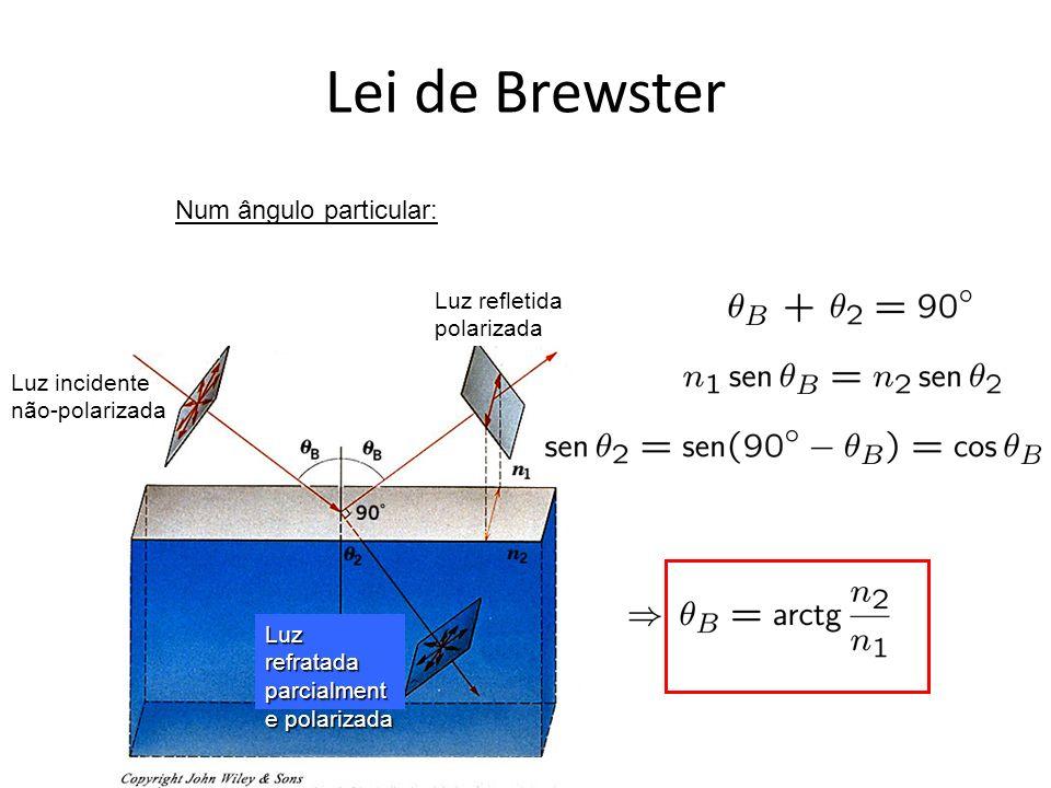 Lei de Brewster Luz incidente não-polarizada Luz refletida polarizada Luz refratada parcialment e polarizada Num ângulo particular: