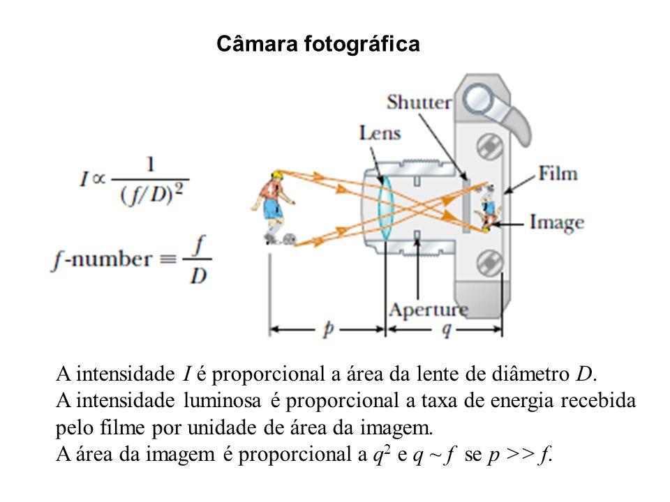Câmara fotográfica A intensidade I é proporcional a área da lente de diâmetro D. A intensidade luminosa é proporcional a taxa de energia recebida pelo
