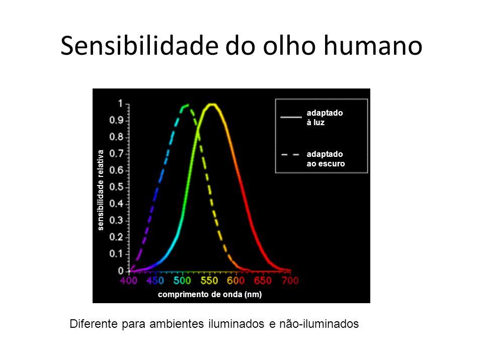 Sensibilidade do olho humano Diferente para ambientes iluminados e não-iluminados comprimento de onda (nm) sensibilidade relativa adaptado à luz adapt