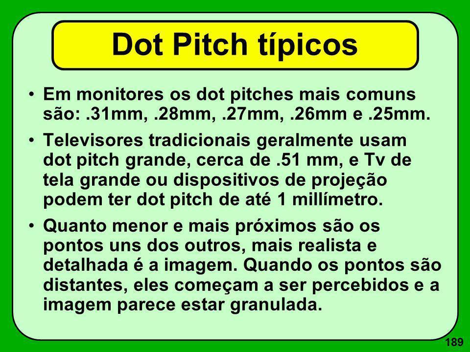 189 Dot Pitch típicos Em monitores os dot pitches mais comuns são:.31mm,.28mm,.27mm,.26mm e.25mm. Televisores tradicionais geralmente usam dot pitch g