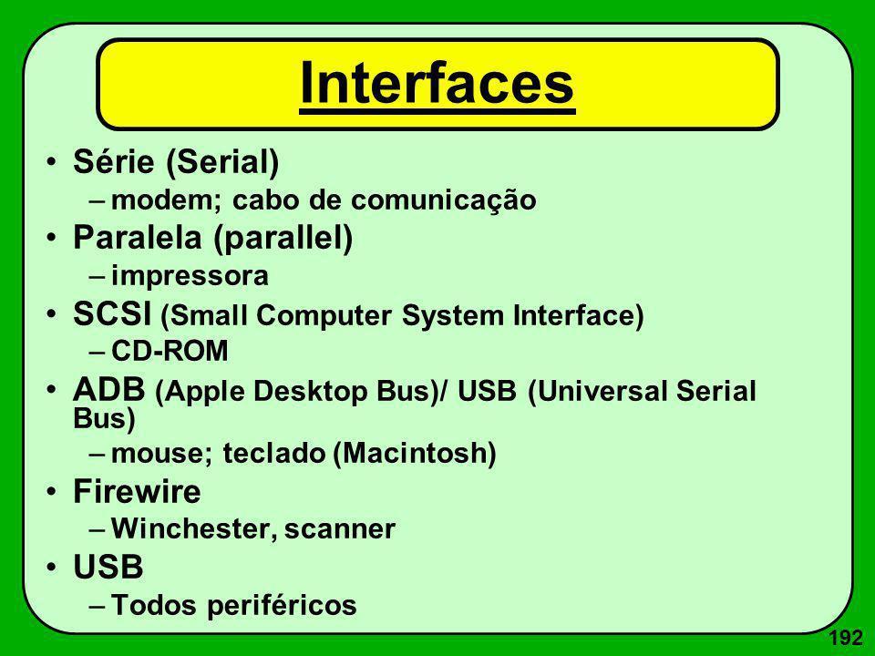 192 Interfaces Série (Serial) –modem; cabo de comunicação Paralela (parallel) –impressora SCSI (Small Computer System Interface) –CD-ROM ADB (Apple De