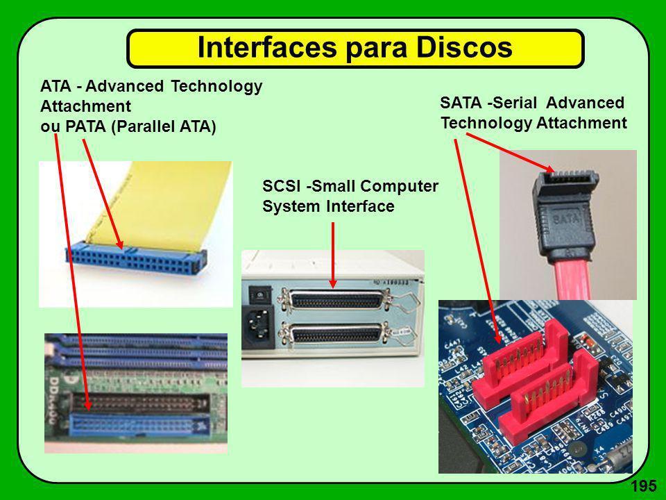 195 Interfaces para Discos ATA - Advanced Technology Attachment ou PATA (Parallel ATA) SATA -Serial Advanced Technology Attachment SCSI -Small Compute