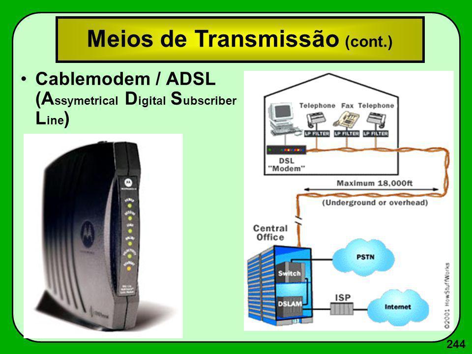 244 Cablemodem / ADSL (A ssymetrical D igital S ubscriber L ine ) Meios de Transmissão (cont.)