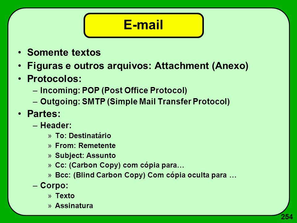 254 E-mail Somente textos Figuras e outros arquivos: Attachment (Anexo) Protocolos: –Incoming: POP (Post Office Protocol) –Outgoing: SMTP (Simple Mail
