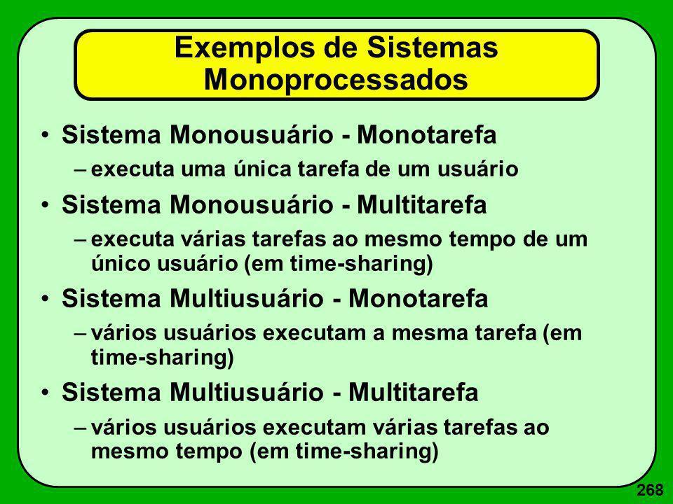 268 Exemplos de Sistemas Monoprocessados Sistema Monousuário - Monotarefa –executa uma única tarefa de um usuário Sistema Monousuário - Multitarefa –e