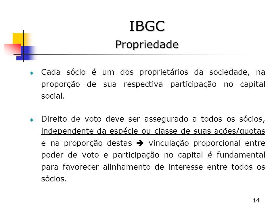 14 IBGC Propriedade Cada sócio é um dos proprietários da sociedade, na proporção de sua respectiva participação no capital social.