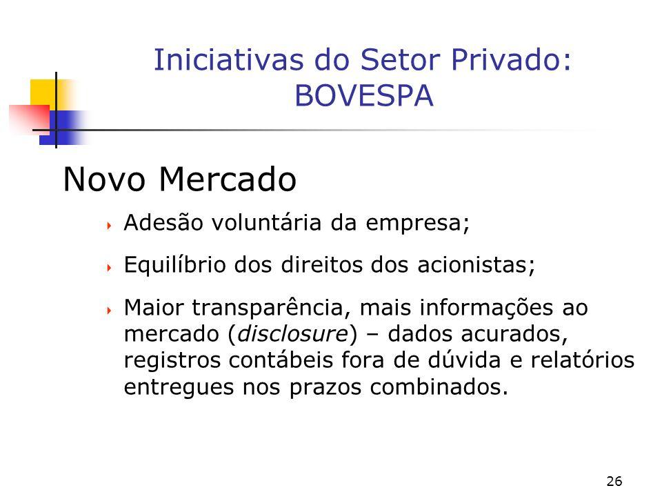 26 Iniciativas do Setor Privado: BOVESPA Novo Mercado Adesão voluntária da empresa; Equilíbrio dos direitos dos acionistas; Maior transparência, mais informações ao mercado (disclosure) – dados acurados, registros contábeis fora de dúvida e relatórios entregues nos prazos combinados.