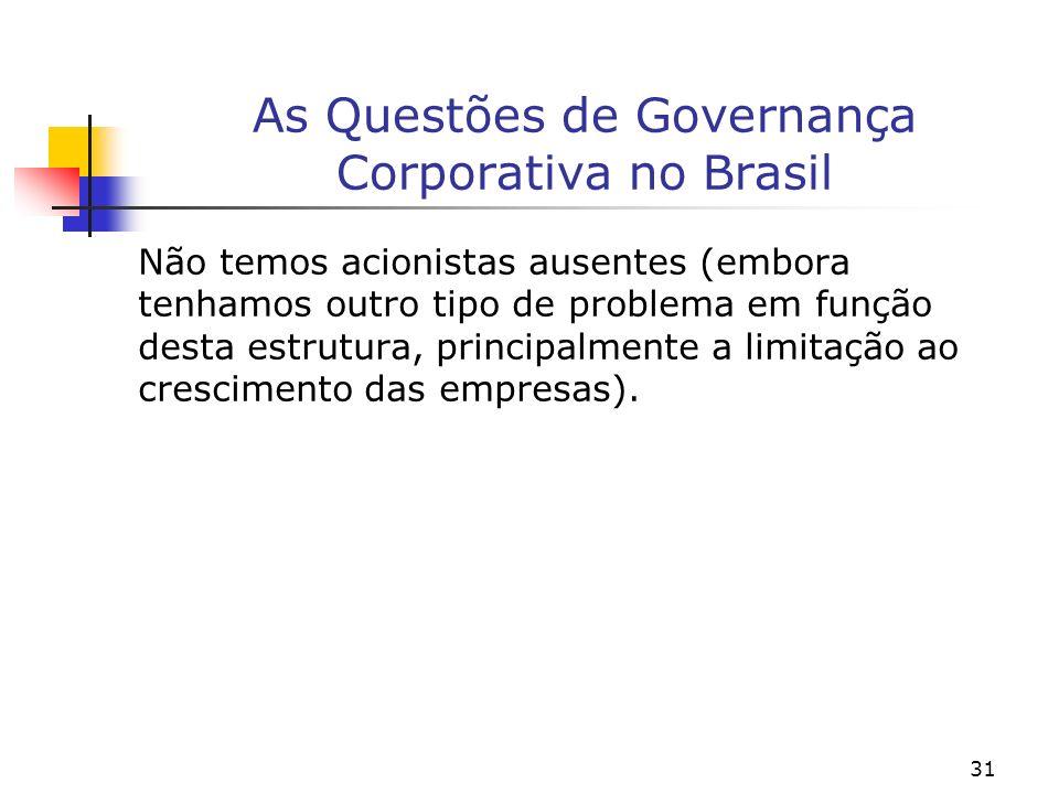 31 As Questões de Governança Corporativa no Brasil Não temos acionistas ausentes (embora tenhamos outro tipo de problema em função desta estrutura, principalmente a limitação ao crescimento das empresas).