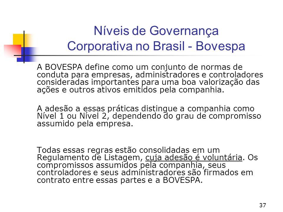 37 Níveis de Governança Corporativa no Brasil - Bovespa A BOVESPA define como um conjunto de normas de conduta para empresas, administradores e controladores consideradas importantes para uma boa valorização das ações e outros ativos emitidos pela companhia.