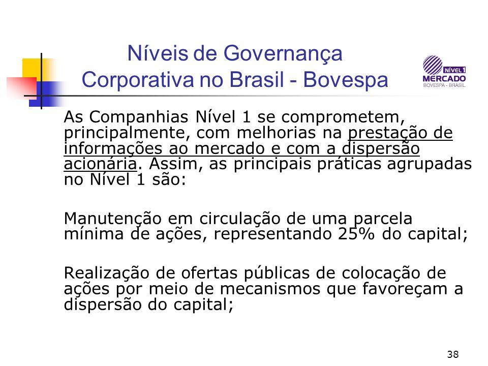 38 Níveis de Governança Corporativa no Brasil - Bovespa As Companhias Nível 1 se comprometem, principalmente, com melhorias na prestação de informações ao mercado e com a dispersão acionária.
