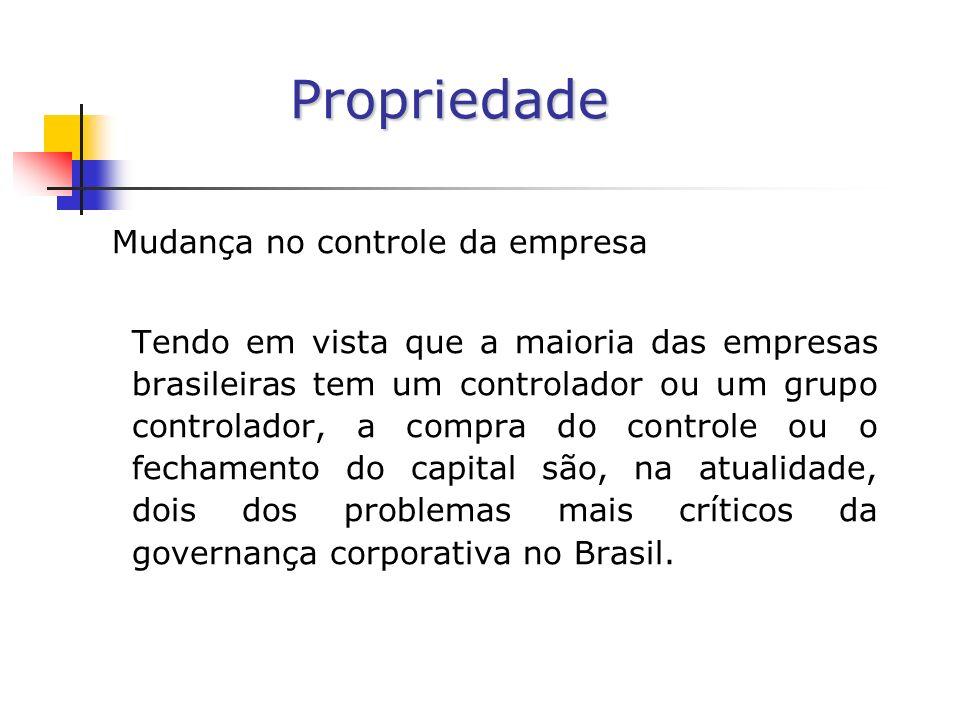 Propriedade Mudança no controle da empresa Tendo em vista que a maioria das empresas brasileiras tem um controlador ou um grupo controlador, a compra do controle ou o fechamento do capital são, na atualidade, dois dos problemas mais críticos da governança corporativa no Brasil.