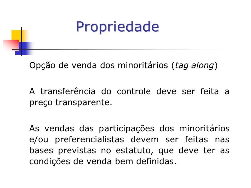 Propriedade Opção de venda dos minoritários (tag along) A transferência do controle deve ser feita a preço transparente.