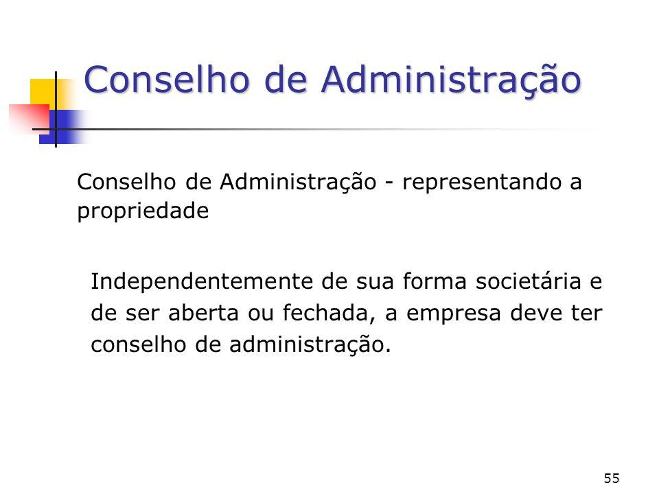 55 Conselho de Administração Conselho de Administração - representando a propriedade Independentemente de sua forma societária e de ser aberta ou fechada, a empresa deve ter conselho de administração.