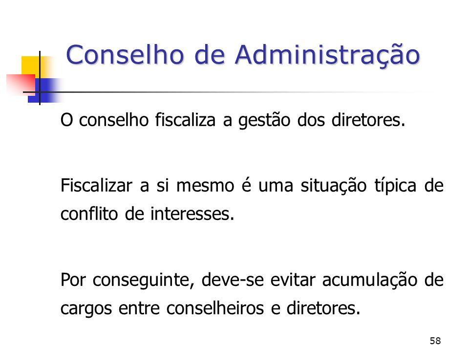 58 O conselho fiscaliza a gestão dos diretores.