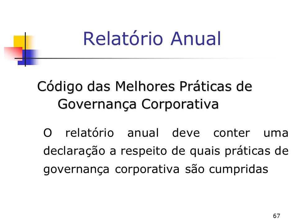67 Relatório Anual Código das Melhores Práticas de Governança Corporativa O relatório anual deve conter uma declaração a respeito de quais práticas de governança corporativa são cumpridas