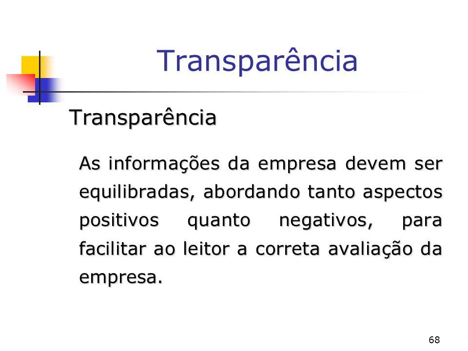 68 Transparência Transparência As informações da empresa devem ser equilibradas, abordando tanto aspectos positivos quanto negativos, para facilitar ao leitor a correta avaliação da empresa.