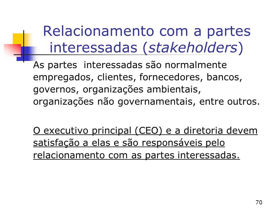 70 Relacionamento com a partes interessadas (stakeholders) As partes interessadas são normalmente empregados, clientes, fornecedores, bancos, governos, organizações ambientais, organizações não governamentais, entre outros.