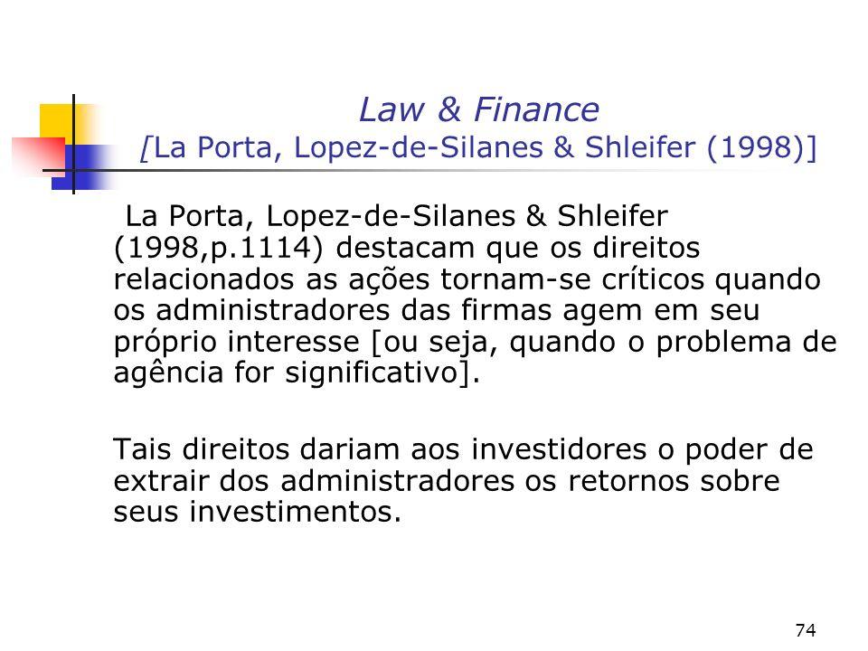 74 Law & Finance [La Porta, Lopez-de-Silanes & Shleifer (1998)] La Porta, Lopez-de-Silanes & Shleifer (1998,p.1114) destacam que os direitos relacionados as ações tornam-se críticos quando os administradores das firmas agem em seu próprio interesse [ou seja, quando o problema de agência for significativo].