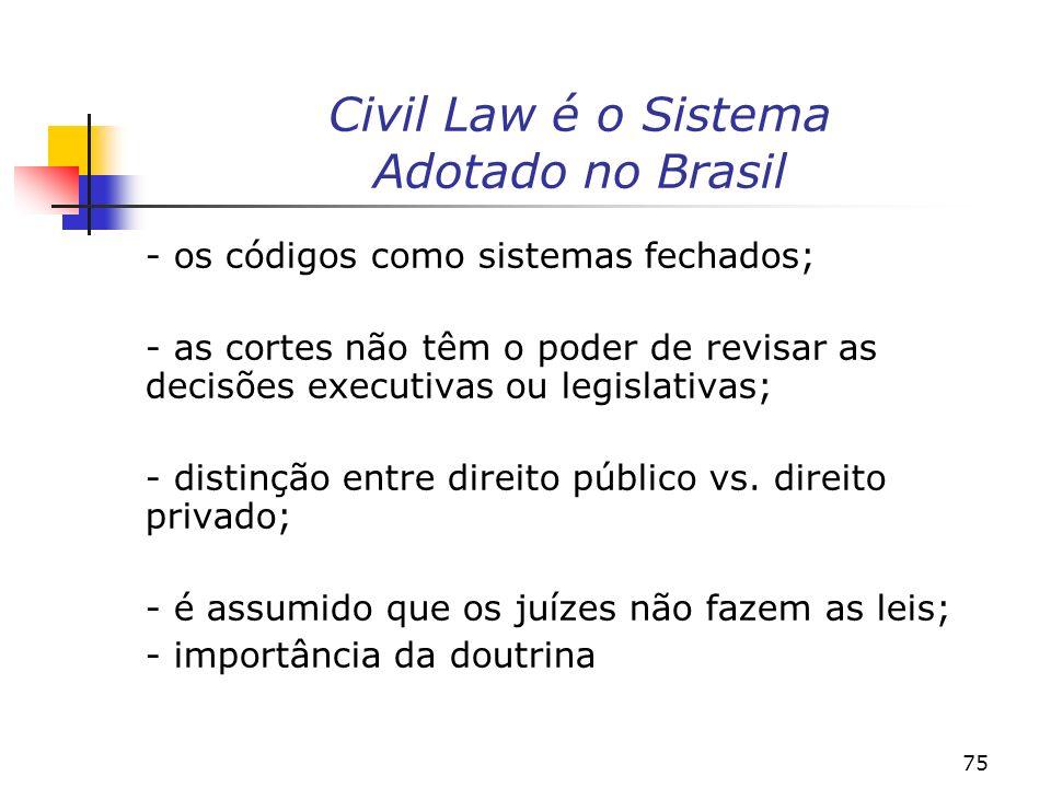 75 Civil Law é o Sistema Adotado no Brasil - os códigos como sistemas fechados; - as cortes não têm o poder de revisar as decisões executivas ou legislativas; - distinção entre direito público vs.