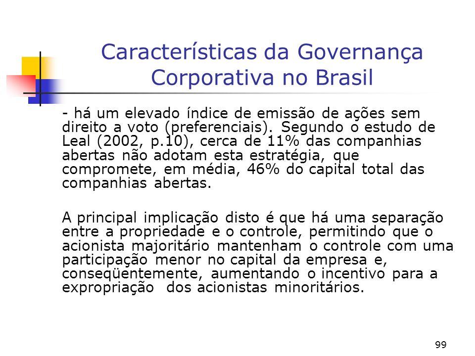 99 Características da Governança Corporativa no Brasil - há um elevado índice de emissão de ações sem direito a voto (preferenciais).