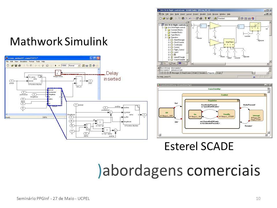 10 )abordagens comerciais Mathwork Simulink Esterel SCADE