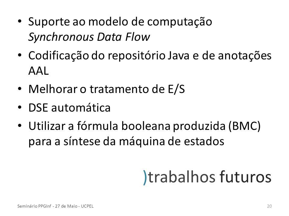 )trabalhos futuros Suporte ao modelo de computação Synchronous Data Flow Codificação do repositório Java e de anotações AAL Melhorar o tratamento de E