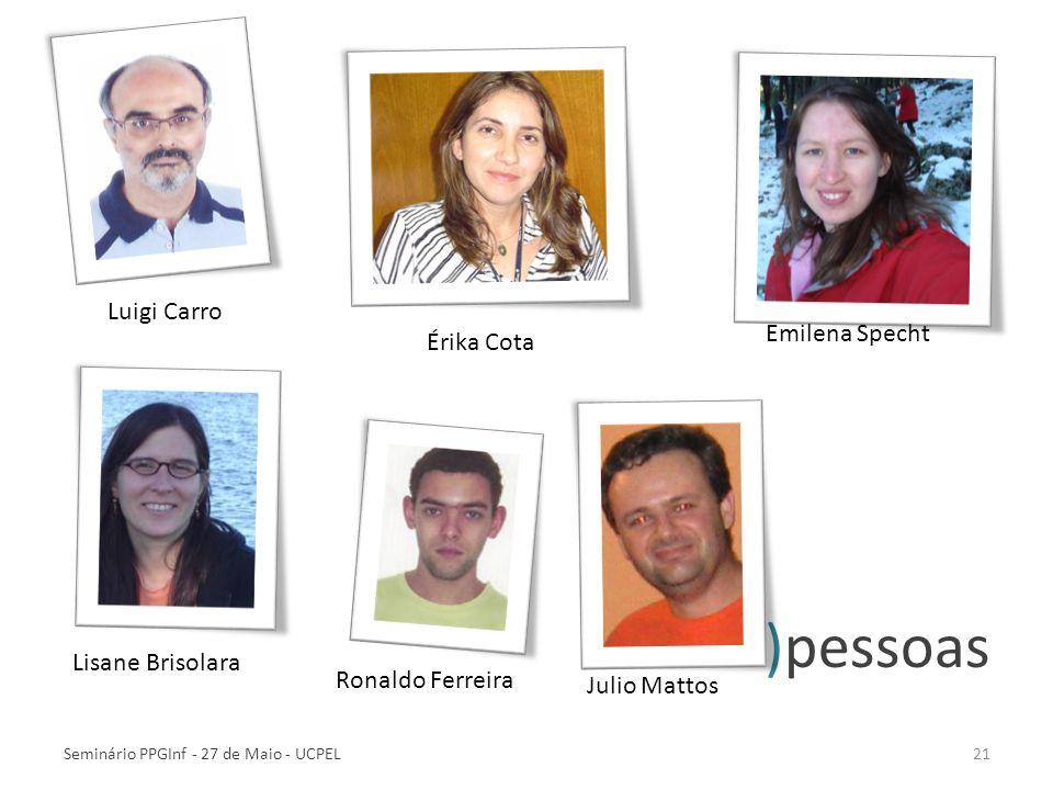 )pessoas Seminário PPGInf - 27 de Maio - UCPEL21 Érika Cota Emilena Specht Luigi Carro Lisane Brisolara Ronaldo Ferreira Julio Mattos