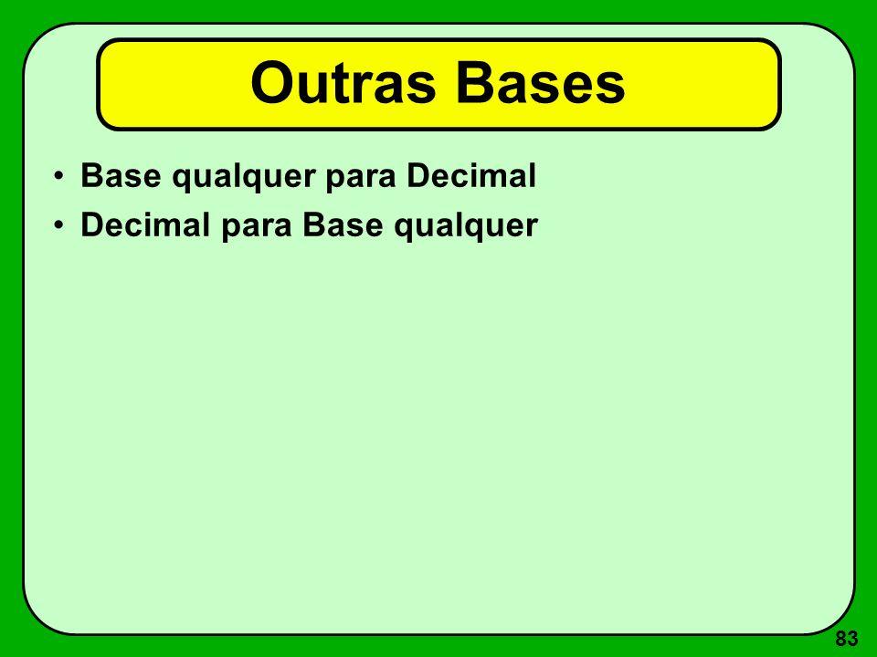 83 Outras Bases Base qualquer para Decimal Decimal para Base qualquer