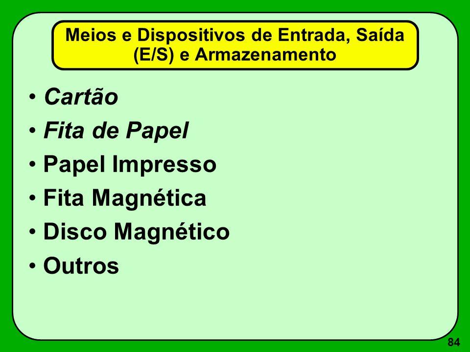 84 Meios e Dispositivos de Entrada, Saída (E/S) e Armazenamento Cartão Fita de Papel Papel Impresso Fita Magnética Disco Magnético Outros