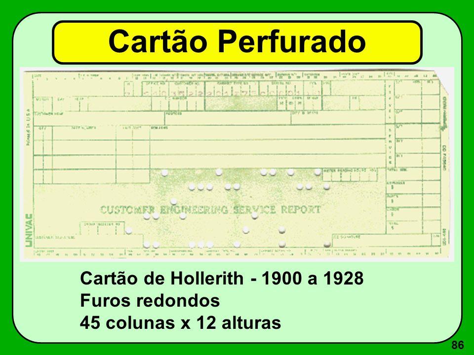 86 Cartão Perfurado Cartão de Hollerith - 1900 a 1928 Furos redondos 45 colunas x 12 alturas