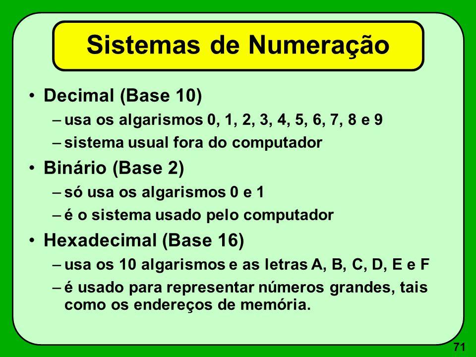 71 Sistemas de Numeração Decimal (Base 10) –usa os algarismos 0, 1, 2, 3, 4, 5, 6, 7, 8 e 9 –sistema usual fora do computador Binário (Base 2) –só usa